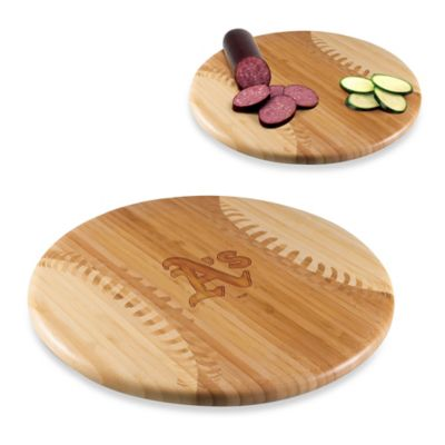 Picnic Time® Homerun! MLB Oakland Athletics Engraved Round Bamboo Cutting Board