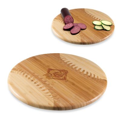 Picnic Time® Homerun! MLB Tampa Bay Rays Engraved Round Bamboo Cutting Board