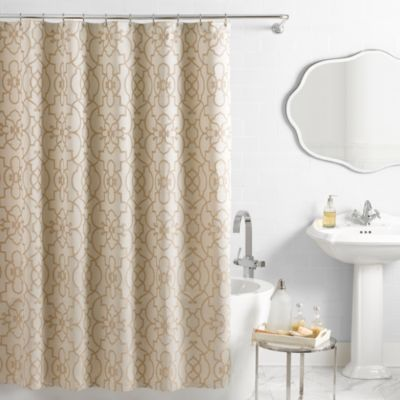Vue® Signature Iron Gates 72-Inch x 72-Inch Jacquard Shower Curtain in Ivory/Tan