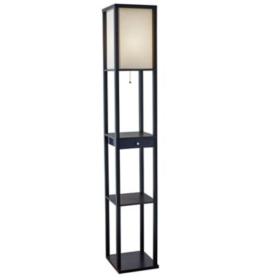 Adesso® 62.75-Inch Shelf Floor Lamp with Drawer and CFL Bulb