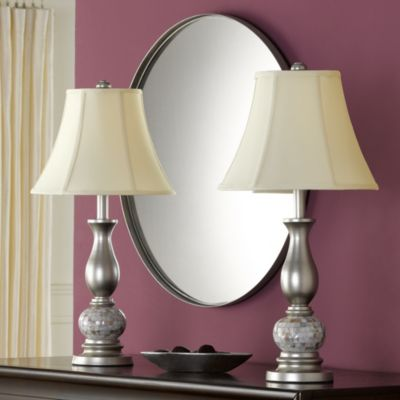Mother of Pearl 2-piece Lamp Set with CFL Bulbs