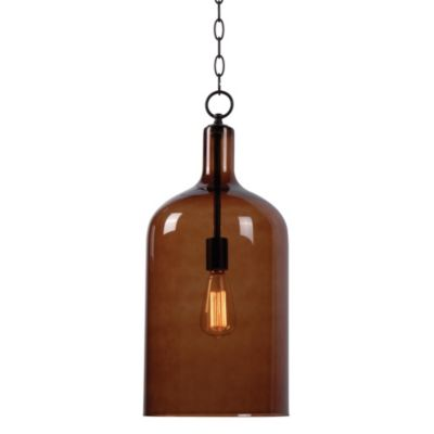 Kenroy Home Capri 1-Light Pendant in Oil Rubbed Bronze with Amber Shade