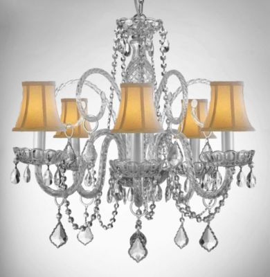 Gallery Style 5-Light All-Crystal Chandelier with Shades