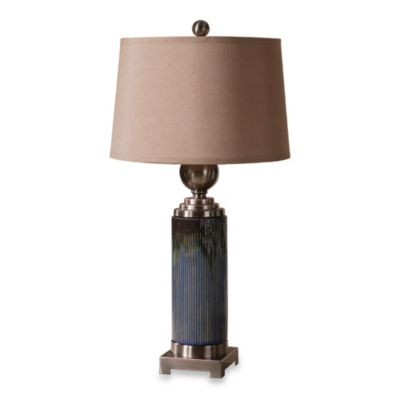 Uttermost Montagano Ceramic Table Lamp in Distressed Blue Glaze