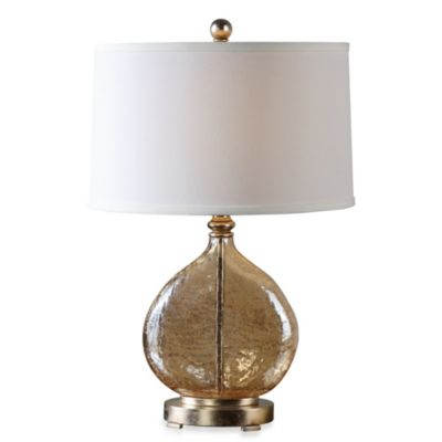 Uttermost Arielli Crackled Glass Lamp in Warm Amber