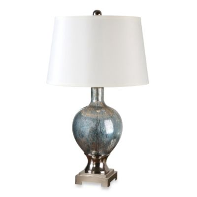 Uttermost Mafalda Glass Table Lamp in Blue Mercury
