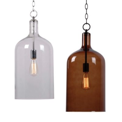 Kenroy Home Capri 1-Light Pendant in Chrome with Clear Shade