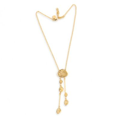 22K Gold Plated Freeform-Shaped Dangling Drusy Necklace