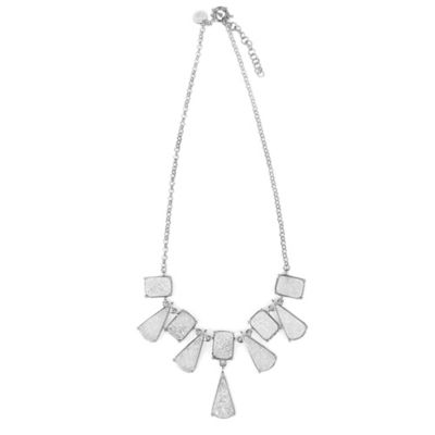 ChristineDarren Sterling Silver Triangle and Square Titanium Drusy Necklace
