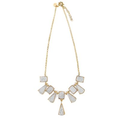 ChristineDarren 22K Gold Plated Triangle and Square White Drusy Necklace
