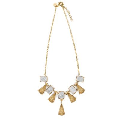 ChristineDarren 22K Gold Plated Triangle and Square White & Gold Drusy Necklace