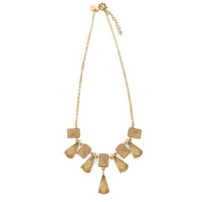 ChristineDarren 22K Gold Plated Triangle and Square Gold Drusy Necklace