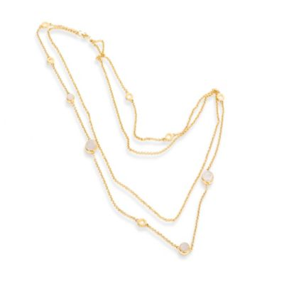 ChristineDarren 22K Gold-Plated Double Strand Necklace with Round Drusy
