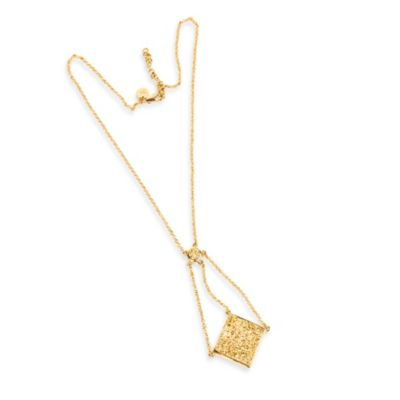 ChristineDarren 22K Gold Plated Swing Drop Gold Drusy Necklace