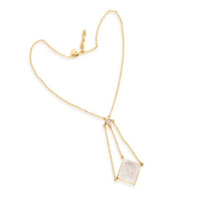 ChristineDarren 22K Gold Plated Swing Drop White Drusy Necklace