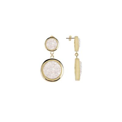 ChristineDarren 22K Gold Plated Double Drusy Drop Earrings in White