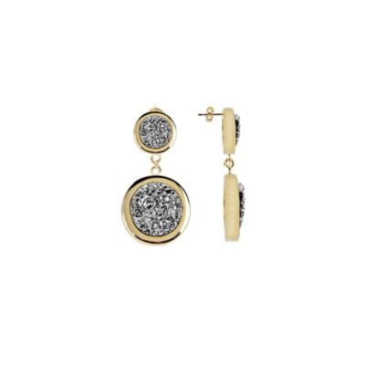 ChristineDarren 22K Gold Plated Double Drusy Drop Earrings in Titanium/Platinum