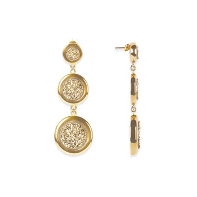ChristineDarren 22K Gold-Plated Triple Drusy Round Drop Earrings