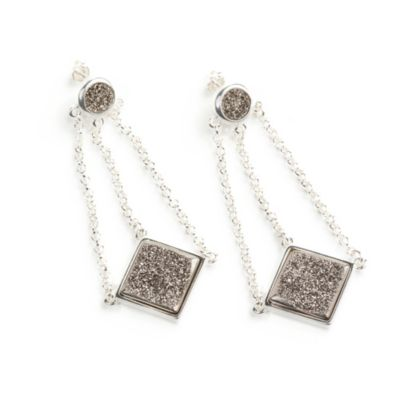 ChristineDarren Sterling Silver Plated, Swing Drop Titanium Drusy Earrings