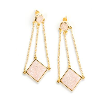 ChristineDarren 22K Gold Plated, Swing Drop White Drusy Earrings