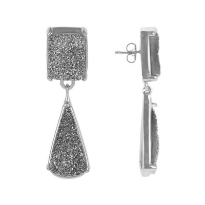 ChristineDarren Sterling Silver Drusy Drop Earrings in Titanium