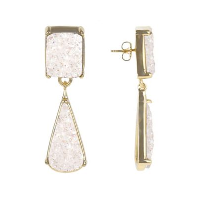 ChristineDarren 22K Gold Plated Drusy Drop Earrings in White