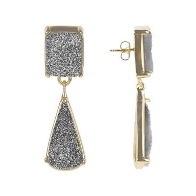 ChristineDarren 22K Gold Plated Drusy Drop Earrings in Silver