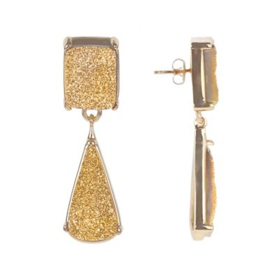 ChristineDarren 22K Gold Plated Drusy Drop Earrings in Gold
