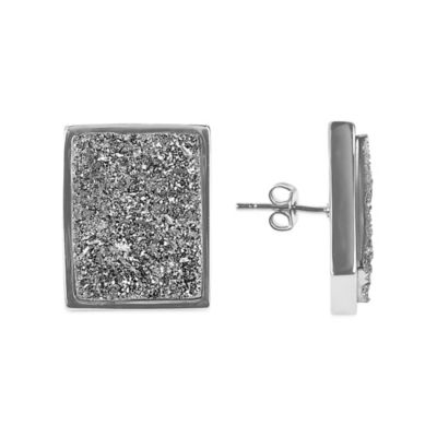ChristineDarren Sterling Silver Plated Rectangular Titanium Drusy Stud Earrings