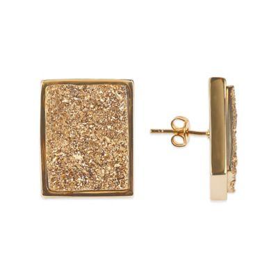 ChristineDarren 22K Gold Plated Rectangular Gold Drusy Stud Earrings
