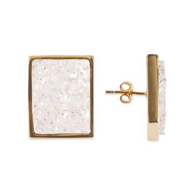 ChristineDarren 22K Gold Plated Rectangular White Drusy Stud Earrings