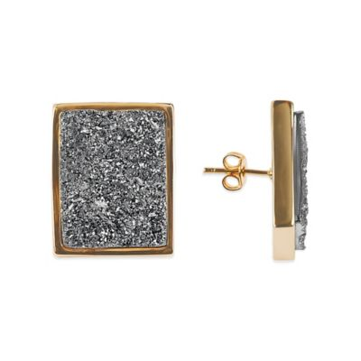 ChristineDarren 22K Gold Plated Rectangular Titanium Drusy Stud Earrings