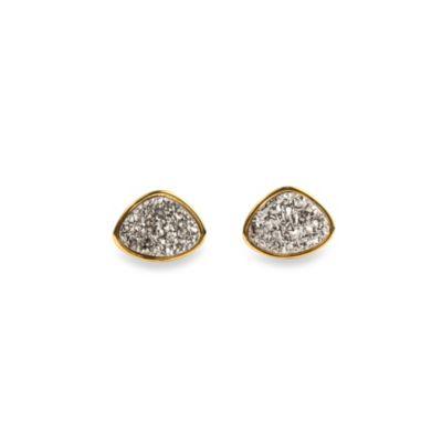 ChristineDarren 22K Gold Plated Freeform Titanium Drusy Stud Earrings