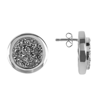 ChristineDarren Sterling Silver Plated, 13mm Round Titanium Drusy Stud Earrings