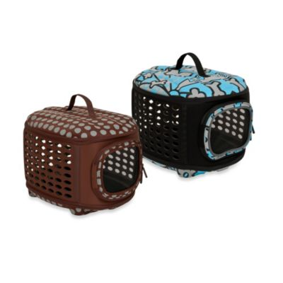 Curvations Pet Retreat Carrier/Kennel in Blue/Charcoal Meito Pattern