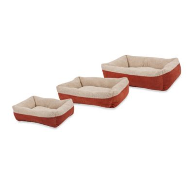 Self-Warming Rectangular Lounger Pet Beds in Brown/Spice