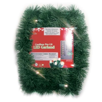 Brite Star Battery Operated 18-Foot Pine Garland with White LED Lights