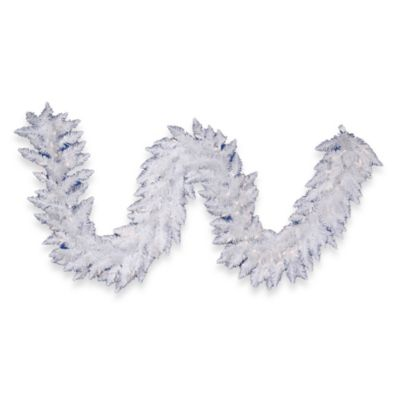 Vickerman 9-Foot x 14-Inch White Sparkle Garland with Clear Lights