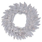 Vickerman 36-Inch White Sparkle Wreath with Clear Lights