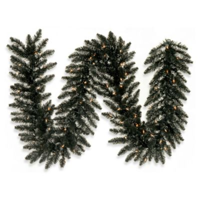 Vickerman 9-Foot x 14-Inch Black Fir Garland with Clear Lights
