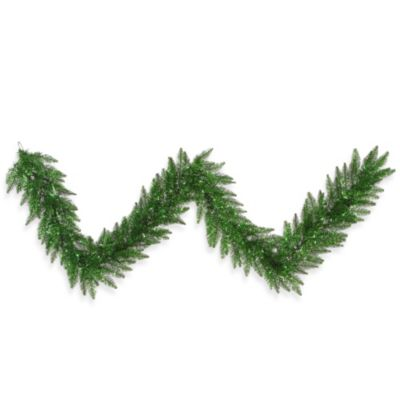Vickerman 9-Foot x 14-Inch Tinsel Green Pre-Lit Garland with Green Lights