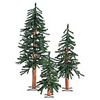 2-3-4-Foot Un-Lit Gatlinburg 3-Piece Artificial Alpine Tree Set