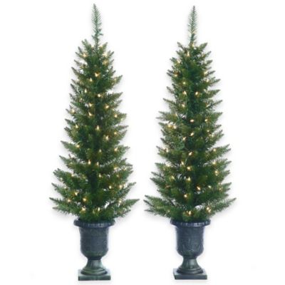 4-Foot Artificial Cedar Pine Potted Pre-Lit Trees (Set of 2)