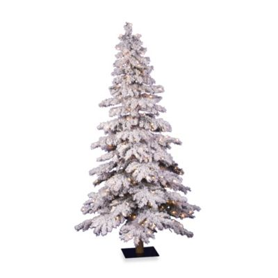 Vickerman 7-Foot Flocked Spruce Pre-Lit Christmas Tree with Clear Lights