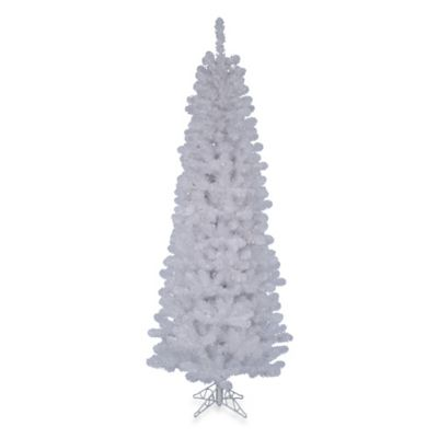 7 1/2-Foot White Salem Pencil Pine Christmas Tree with Stand