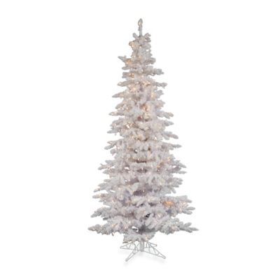 Vickerman 7-1/2-Foot Flocked White Slim Tree with Dura-Lit Clear Lights
