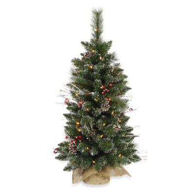 Vickerman 3-Foot x 17-Inch Snow Tip Pine/Berry Tree Pre-Lit with 50 Clear Mini Lights