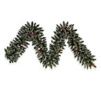 Vickerman 9-Foot x 12-Inch Snow Tip Pine/Berry Garland Pre-Lit with 50 Clear Mini Lights