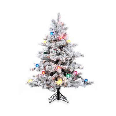 Vickerman 4-Foot 6-Inch Flocked Alaskan Pine Pre-Lit Christmas Tree with Multicolor Lights