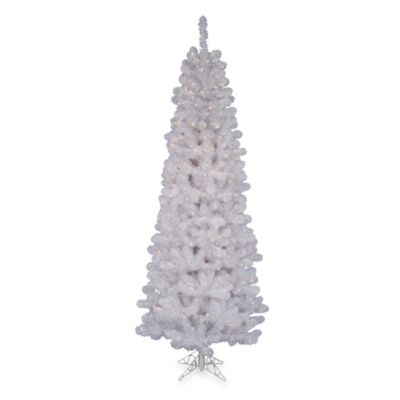 6 1/2-Foot White Salem Pencil Pine Christmas Tree with 200 LED Frosted Italian Lights